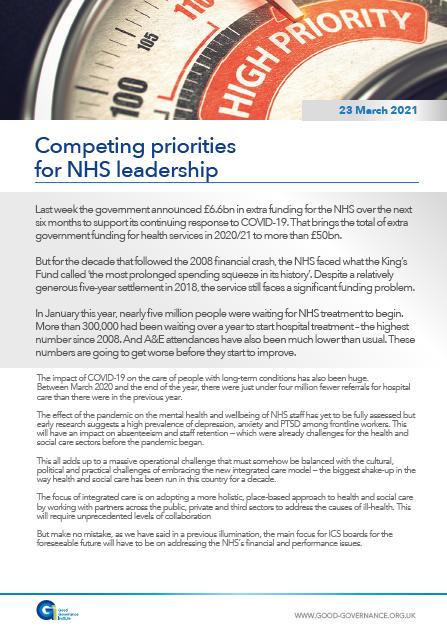 Competing priorities for NHS leadership