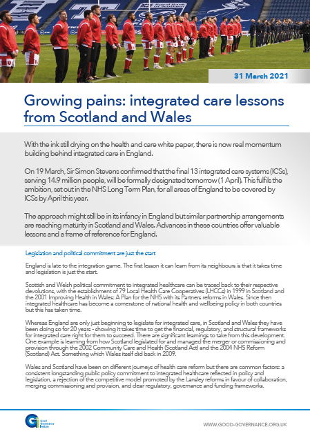 Growing pains: integrated care lessons from Scotland and Wales