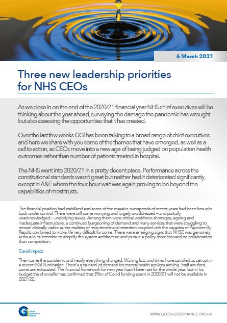 Three new leadership priorities for NHS CEOs