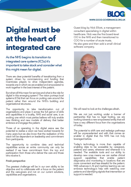 Digital must be at the heart of integrated care