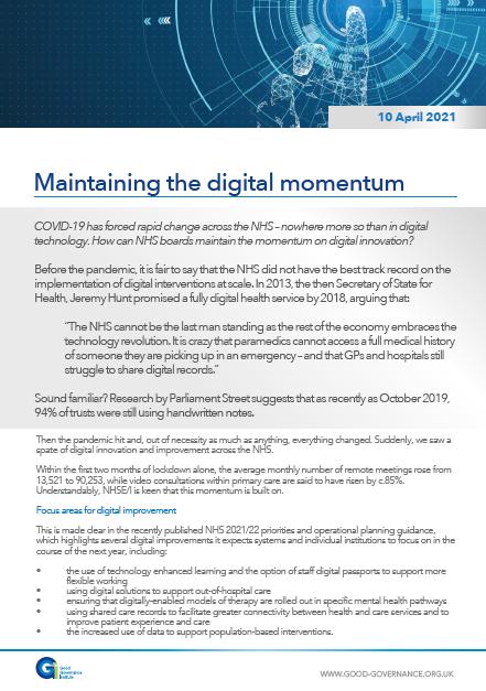 Maintaining the digital momentum