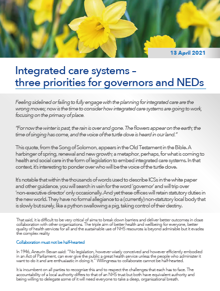 Integrated care systems – three priorities for governors and NEDs