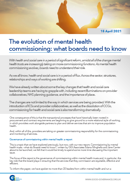 The evolution of mental health commissioning: what boards need to know