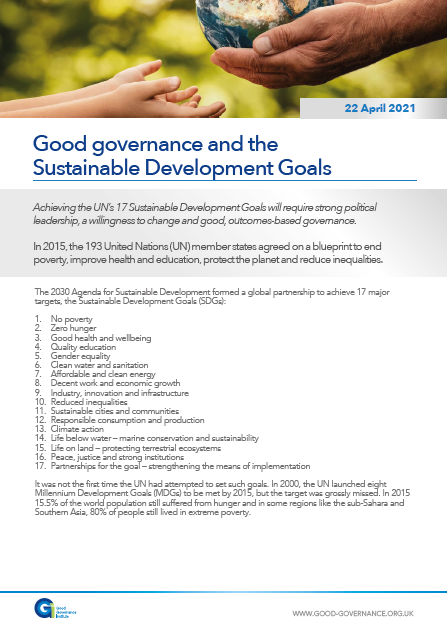 Good governance and the Sustainable Development Goals