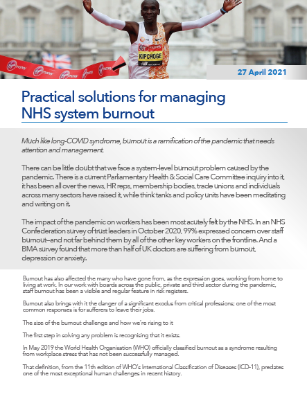 Practical solutions for managing NHS system burnout