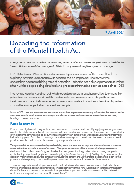 Decoding the reformation of the Mental Health Act
