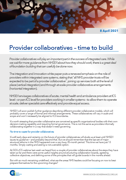 Provider collaboratives – time to build